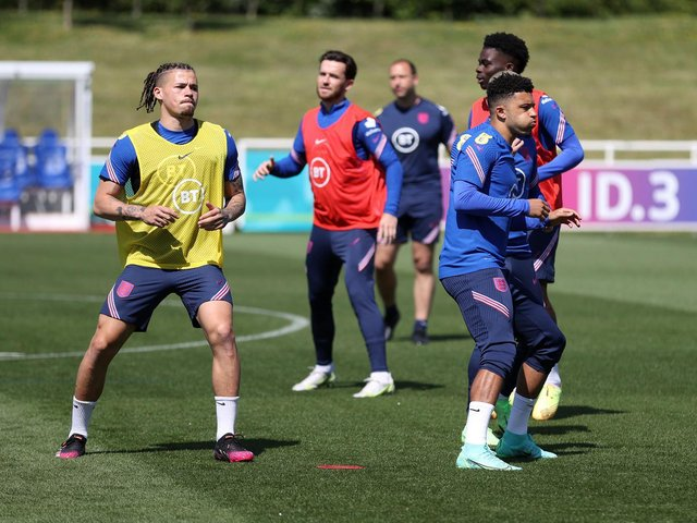 REUNITED? Leeds United's England international midfielder Kalvin Phillips, left, looks likely to face Three Lions team mate Jadon Sancho, right, in the season opener at Manchester United. Photo by Catherine Ivill/Getty Images.