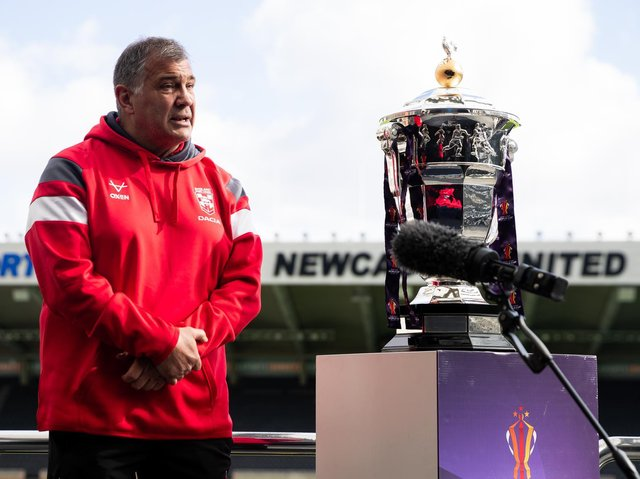 England coach Shaun Wane with the World Cup. Picture by SWpix.com.