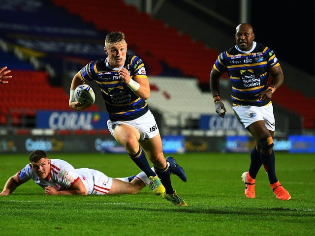 Harry Newman in action for Rhinos last season. Picture by Jonathan Gawthorpe.