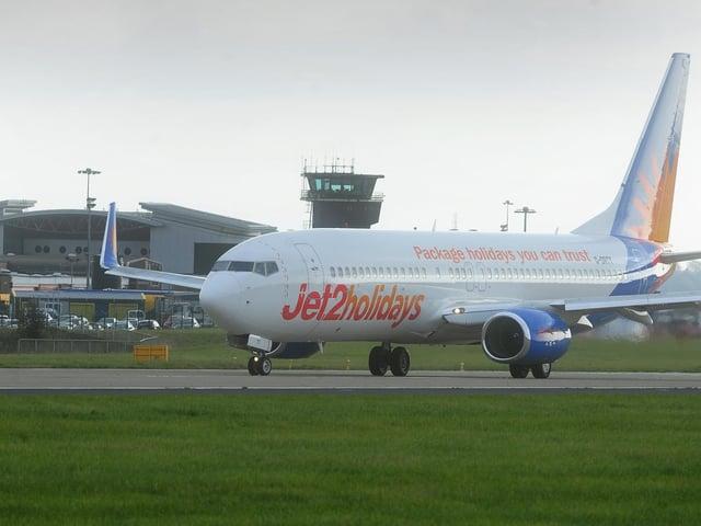 A Jet2 aircraft at Leeds Bradford Airport