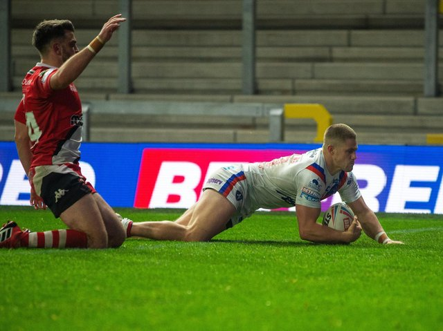 Ryan Hampshire scored for Trinity against Salford last season but is suspended for this week's clash. Picture by Bruce Rollinson.