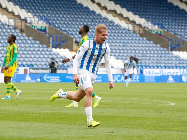 Huddersfield Town's Emile Smith Rowe celebrates his winning goal against West Bromwich Albion. PIC: Getty