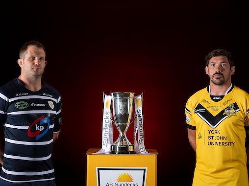 Rovers captain James Lockwood, left, and his York rival Chris Clarkson with the 1895 Cup. Picture by Allan McKenzie/SWpix.com.