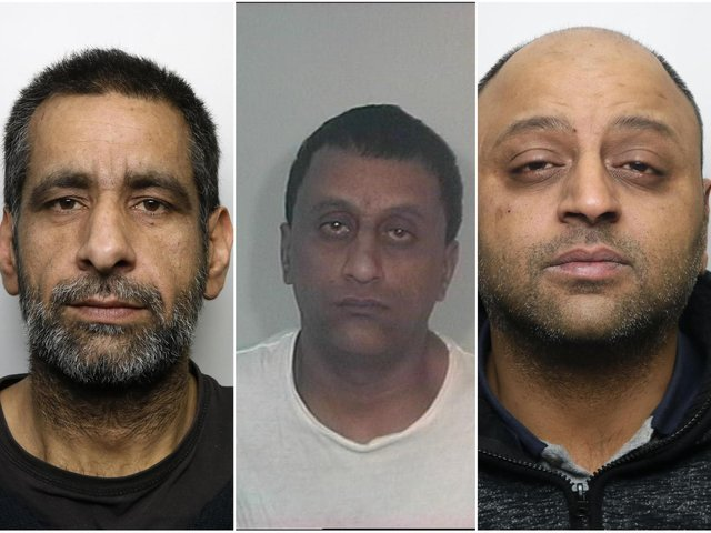 Left to right: Banaras Hussain, Mohammed Akram and Talish Ahmed, who have all been jailed for the sexual exploitation of a girl in the 1990s