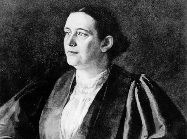Dr Edith Pechey in her graduation robes in 1877. A portrait from the archives of the Medical Women's Federation, London.