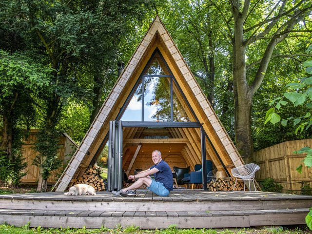 Kieran Bentham who built his shed himself at his home in Otley, which is up for the Shed of the Year award. Picture Tony Johnson