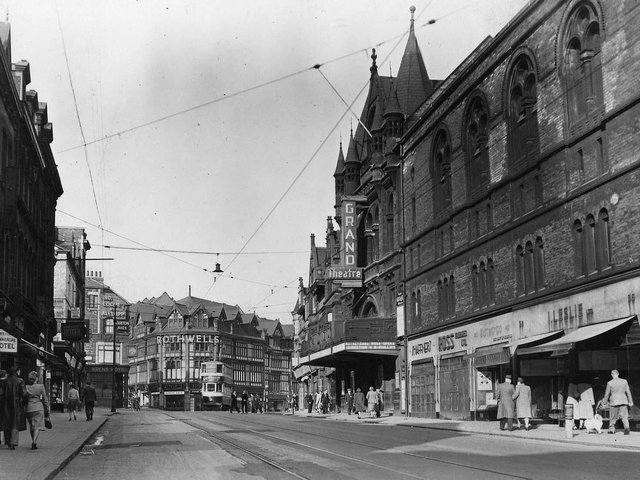 An undated photo of New Briggate that features in the exhibition. PIC: Leeds Libraries, www.leodis.net