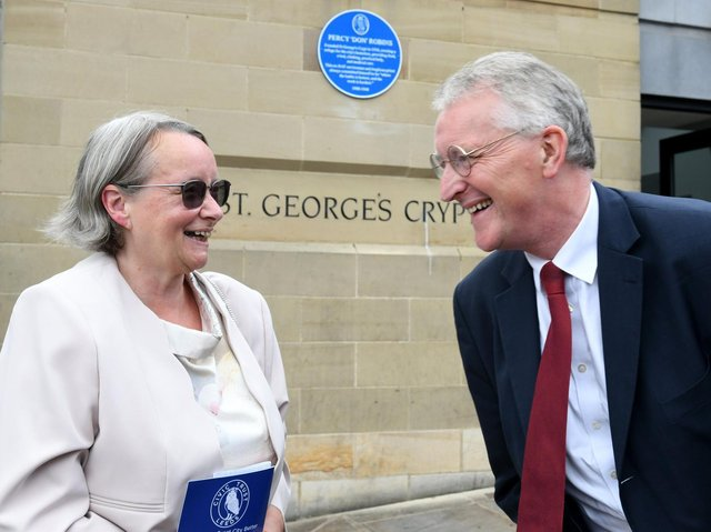 Delia Robins chats with Hilary Benn MP after she unveiled a blue plaque to her  father in law  Percy 'Don' Robins at St George's Crypt. PIC: Gary Longbottom