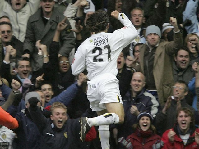 Shaun Derry celebrates scoring the winning goal during the Coca-Cola Championship clash against West Ham United at Elland Road in February 2005. PIC: Getty