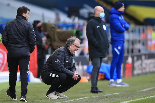 Marcelo Bielsa, manager of Leeds United, reacts during the Premier League match between Leeds United and Chelsea at Elland Road on March 13, 2021.
