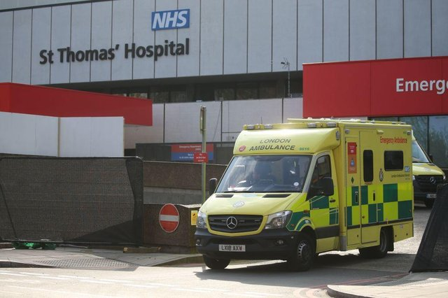 An ambulance leaves St Thomas' Hospital in central London, where Prime Minister Boris Johnson is in intensive care with symptoms of the novel coronavirus COVID-19 (Photo: ISABEL INFANTES/AFP via Getty Images)