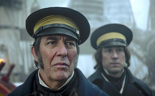 Ciarán Hinds and Jared Harris star as Captain Franklin and his right-hand man Captain Crozier in the BBC series (Picture: BBC Two)