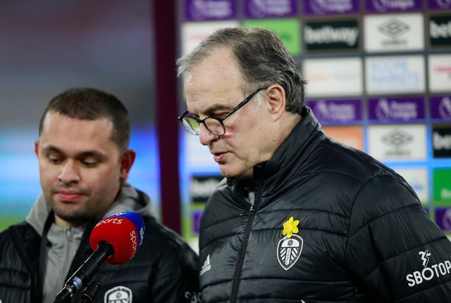 Marcelo Bielsa, manager of Leeds United is interviewed by Sky Sports prior to the Premier League match between West Ham United and Leeds United at London Stadium on March 8, 2021.