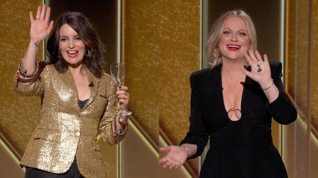Hosts Tina Fey and Amy Poehler pulled no punches at the 2021 Golden Globes (Getty Images)
