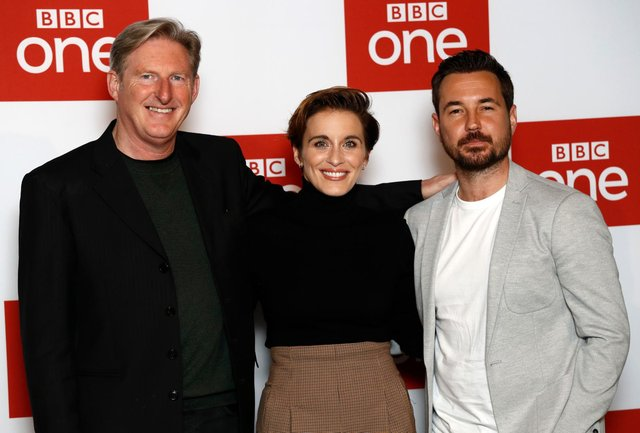 Adrian Dunbar (Ted Hastings), Vicky McClure (Kate Fleming), and Martin Compston (Steve Arnott) will be joined by Kelly Macdonald as detective chief inspector Joanne Davidson in Line of Duty season 6. (Pic: Getty)