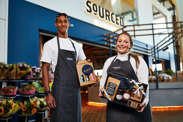 Sourced Market - an all-day food marketplace - at the brand new Leeds Skelton Motorway Services, opened by Extra MSA Group, at Junction 45 off the M1.