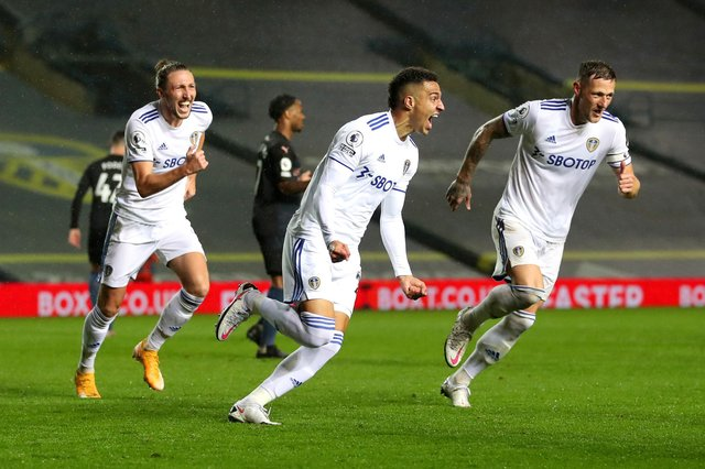 LEEDS, ENGLAND - OCTOBER 03: Rodrigo Moreno of Leeds United celebrates after scoring his team's first goal during the Premier League match between Leeds United and Manchester City at Elland Road on October 03, 2020 in Leeds, England. Sporting stadiums around the UK remain under strict restrictions due to the Coronavirus Pandemic as Government social distancing laws prohibit fans inside venues resulting in games being played behind closed doors. (Photo by Catherine Ivill/Getty Images)