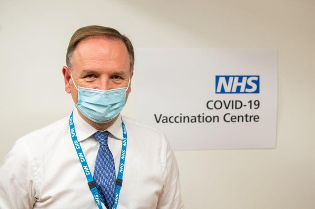 Sir Simon Stevens, chief executive of NHS England, attends the Royal Free Hospital in London to see preparations and meet staff who will be starting the coronavirus vaccination programme (Photo: Dominic Lipinski- WPA Pool/Getty Images)
