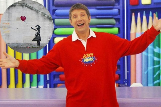 Could the former Art Attack presenter be Banksy? (Photo: Art Attack/Banksy)