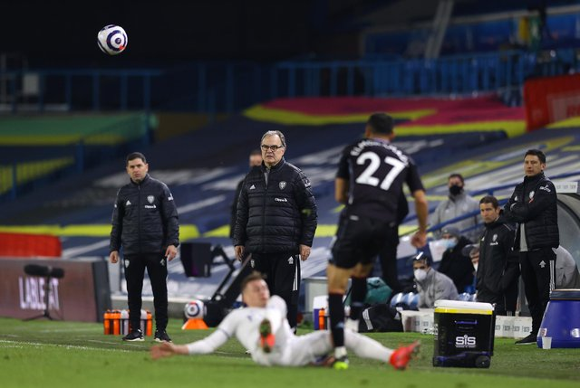 Marcelo Bielsa, manager of Leeds United, looks on during the Premier League match between Leeds United and Aston Villa at Elland Road on February 27, 2021.