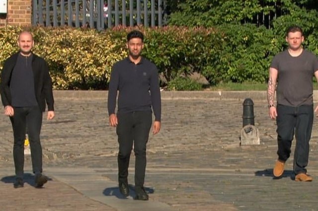 The episode featured Guillame from London, Burhan from Coventry and Scott from Manchester, but a fourth contestant was absent (Photo: BBC)