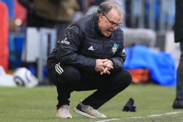 Leeds United's Argentinian head coach Marcelo Bielsa looks on from the sidelines during the English Premier League football match between Leeds United and Chelsea at Elland Road.