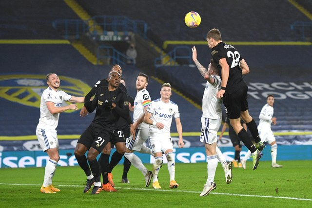Tomas Soucek of West Ham United scores their sides first goal during the Premier League match between Leeds United and West Ham United at Elland Road on December 11, 2020.