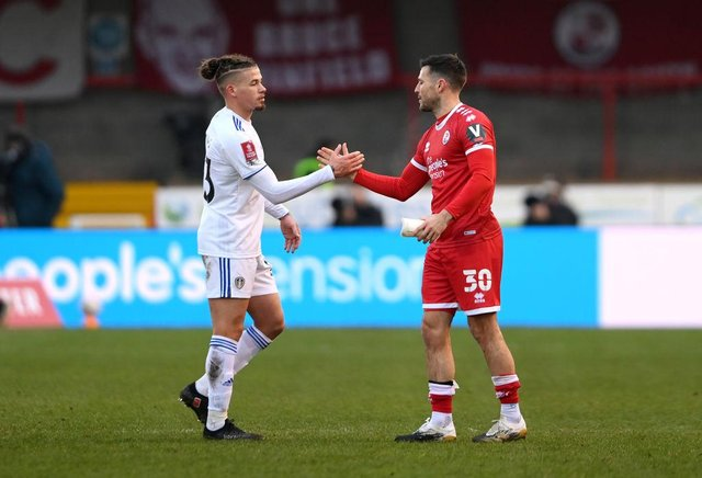 Mark Wright of Crawley Town interacts with Kalvin Phillips of Leeds United. (Photo by Mike Hewitt/Getty Images)