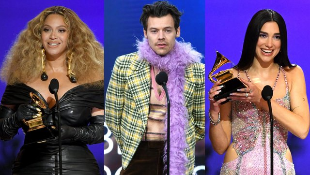 Beyoncé, Harry Styles and Dua Lipa all scooped awards at the Grammys 2021 (Getty Images)