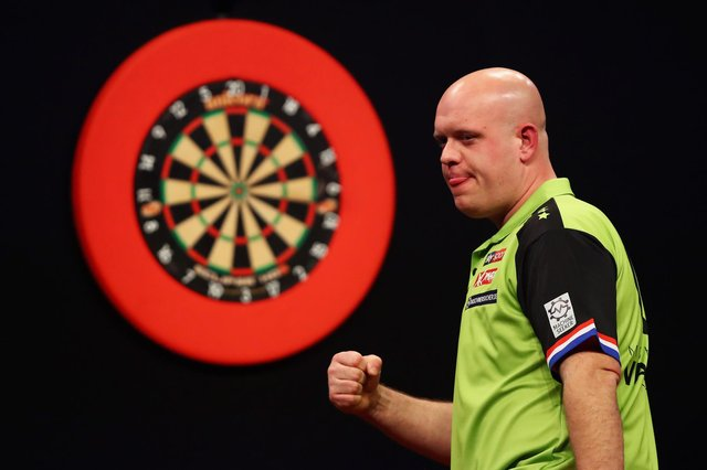 Some of the biggest names in world darts - Michael van Gerwen (pictured), Gerwyn Price and Raymond van Barneveld - are set to compete at the UK Open. (Pic: Getty Images)
