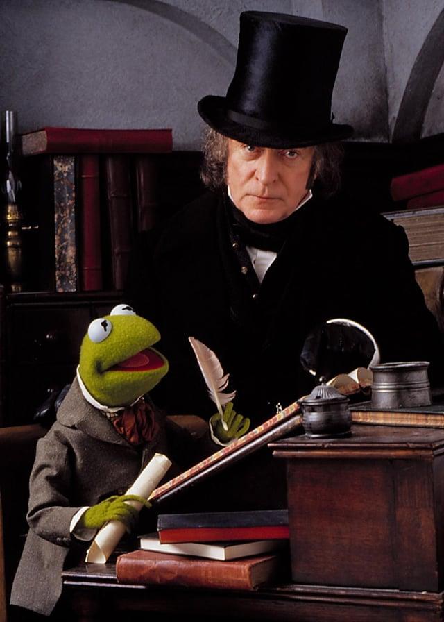 Michael Caine as Ebenezer Scrooge - alongside Kermit the Frog in 1992's The Muppet Christmas Carol (Photo: Disney)