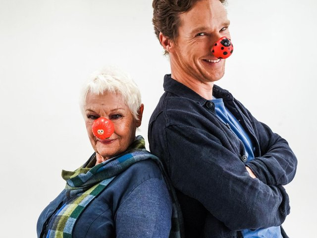 Dame Judi Dench and Benedict Cumberbatch have launched this year's Red Nose Day fundraising campaign (Photo: Jacqui Black/Comic Relief)