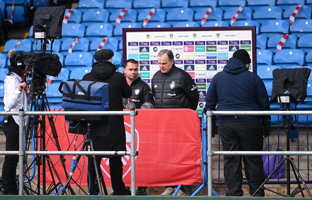 Marcelo Bielsa interviewed by media prior to the Premier League match between Leeds United and Chelsea at Elland Road on March 13, 2021.